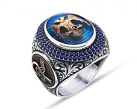 Tesbihane - 925 Ayar Gümüş Mavi Mine Üzerine Çift Başlı Kartal Desen Yüzük
