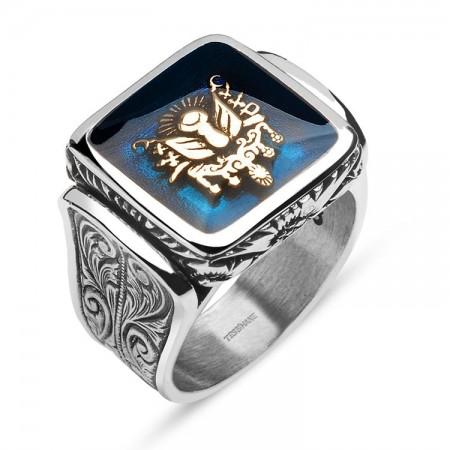 - 925 Ayar Gümüş Mavi Mine Üzerine Devlet Armalı Kare Yüzük