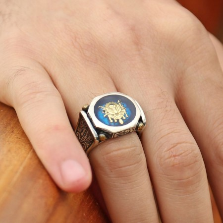 Tesbihane - 925 Ayar Gümüş Mavi Mine Üzerine Devlet Armalı Yüzük