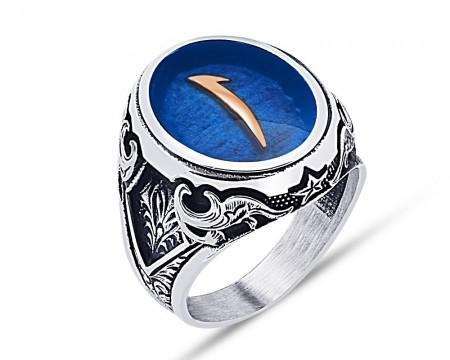 Tesbihane - 925 Ayar Gümüş Mavi Mine Üzerine Elif Desen Yüzük - Model - 2