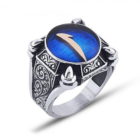 Tesbihane - 925 Ayar Gümüş Mavi Mine Üzerine Elif Desen Yüzük Model 3
