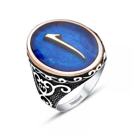 Tesbihane - 925 Ayar Gümüş Mavi Mine Üzerine Elif Harfli Yüzük
