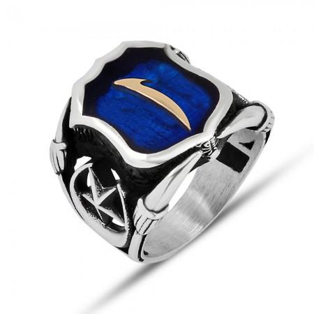 Tesbihane - 925 Ayar Gümüş Mavi Mine Üzerine ''Elif'' İşlemeli Yüzük