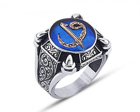- 925 Ayar Gümüş Mavi Mine Üzerine Elif Vav Desen Yüzük Model 2