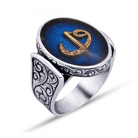 - 925 Ayar Gümüş Mavi Mine Üzerine Elif Vav Harfli Oval Yüzük