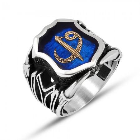 Tesbihane - 925 Ayar Gümüş Mavi Mine Üzerine ''Elif Vav'' İşlemeli Yüzük