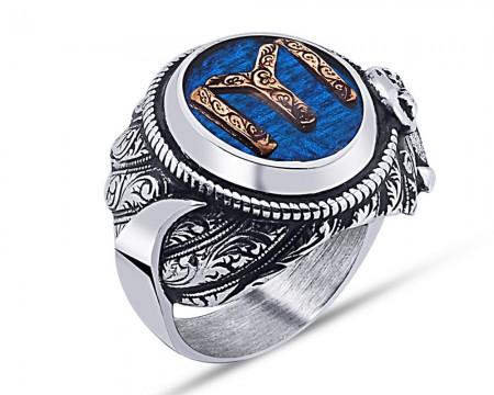 Tesbihane - 925 Ayar Gümüş Mavi Mine Üzerine Kayı Boyu Desen Hançer Tasarım Yüzük