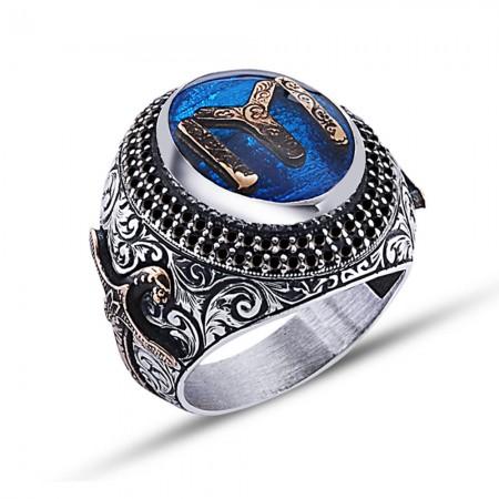- 925 Ayar Gümüş Mavi Mine Üzerine Kayı Boyu Desen Yüzük