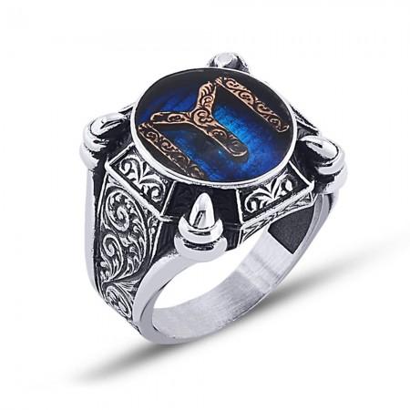 - 925 Ayar Gümüş Mavi Mine Üzerine Kayı Boyu Desen Yüzük - Model 2