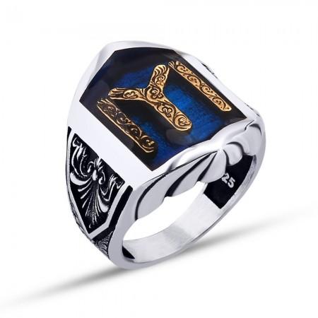 Tesbihane - Kayı Boyu Motifli Mavi Mineli 925 Ayar Gümüş Erkek Yüzük