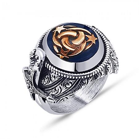 Tesbihane - 925 Ayar Gümüş Mavi Mine Üzerine Teşkılat-I Mahsusa Hançer Tasarım Yüzük