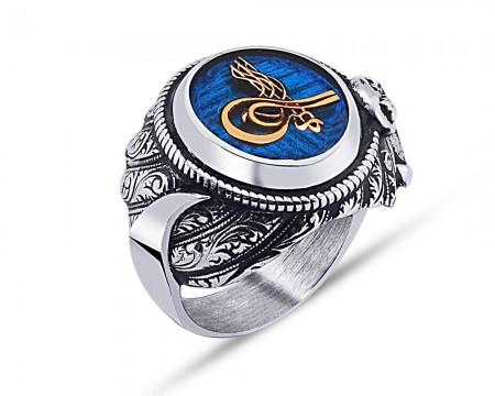 Tesbihane - 925 Ayar Gümüş Mavi Mine Üzerine Tuğra Desen Hançer Tasarım Yüzük