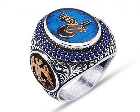 Tesbihane - 925 Ayar Gümüş Mavi Mine Üzerine Tuğra Desen Yüzük - Model 2
