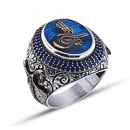 - 925 Ayar Gümüş Mavi Mine Üzerine Tuğra Desen Yüzük Model 3