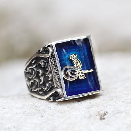 Tesbihane - 925 Ayar Gümüş Mavi Mine Üzerine ''Tuğra'' İşlemeli Yüzük - Model 2