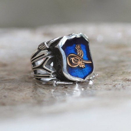 Kayı Boyu İşlemeli Tuğra Motifli Mineli 925 Ayar Gümüş Erkek Yüzük - Thumbnail