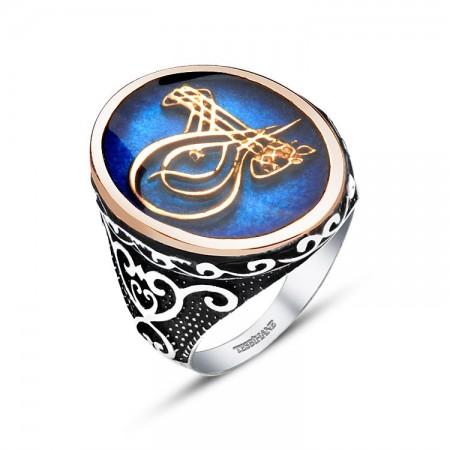 - 925 Ayar Gümüş Mavi Mine Üzerine Tuğralı Yüzük