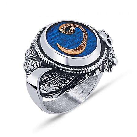 Tesbihane - 925 Ayar Gümüş Mavi Mine Üzerine Vav Desen Hançer Tasarım Yüzük