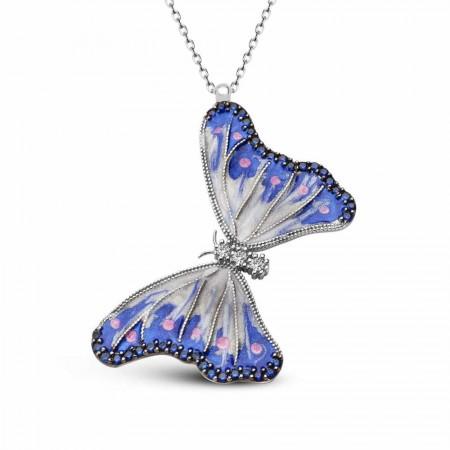 Tesbihane - 925 Ayar Gümüş Mavi Mineli Kelebek Kolye