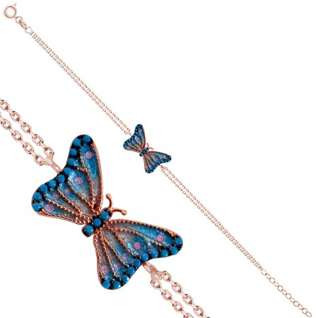 - 925 Ayar Gümüş Mavi Mineli Kelebek Rose Bileklik