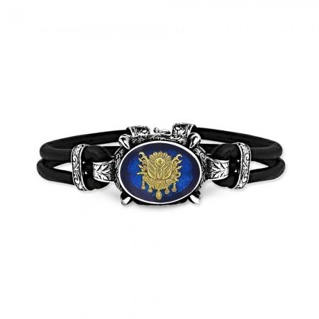 - 925 Ayar Gümüş Mavi Mineli Osmanlı Armalı Bileklik