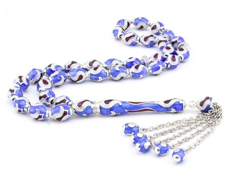 - 925 Ayar Gümüş Mavi Mineli Tesbih