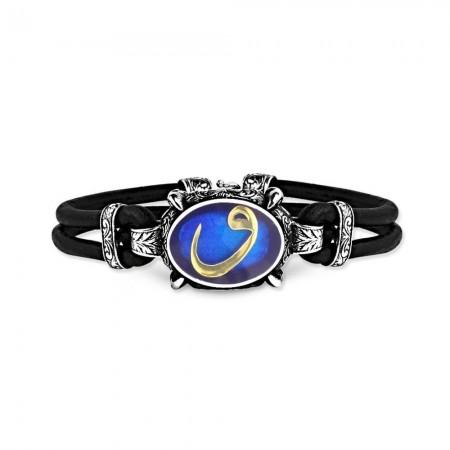 Tesbihane - 925 Ayar Gümüş Mavi Mineli Vav Bileklik