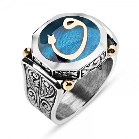 Tesbihane - 925 Ayar Gümüş Mavi Mineli Vav Harfli Özel Tasarım Yüzük