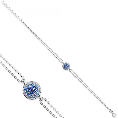 Tesbihane - 925 Ayar Gümüş Mavi Taşlı Yuvarlak Bileklik