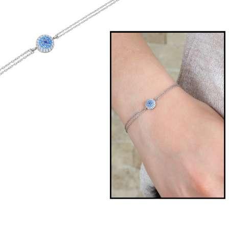 Tesbihane - Beyaz-Mavi Zirkon Taşlı Yuvarlak Tasarım 925 Ayar Gümüş Bayan Bileklik