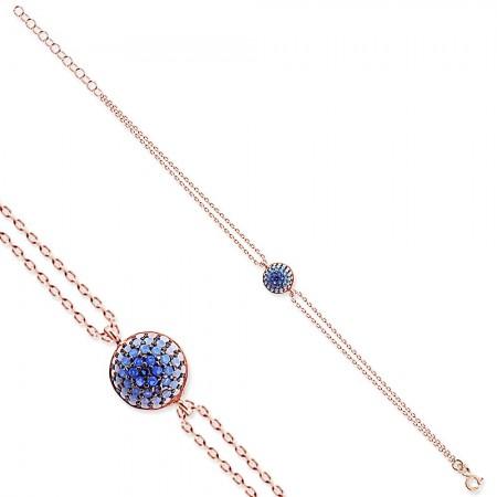 - 925 Ayar Gümüş Mavi Taşlı Yuvarlak Rose Bileklik