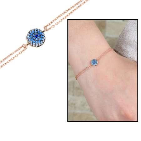 - Mavi-Beyaz Zirkon Taşlı Yuvarlak Tasarım 925 Ayar Gümüş Bayan Bileklik