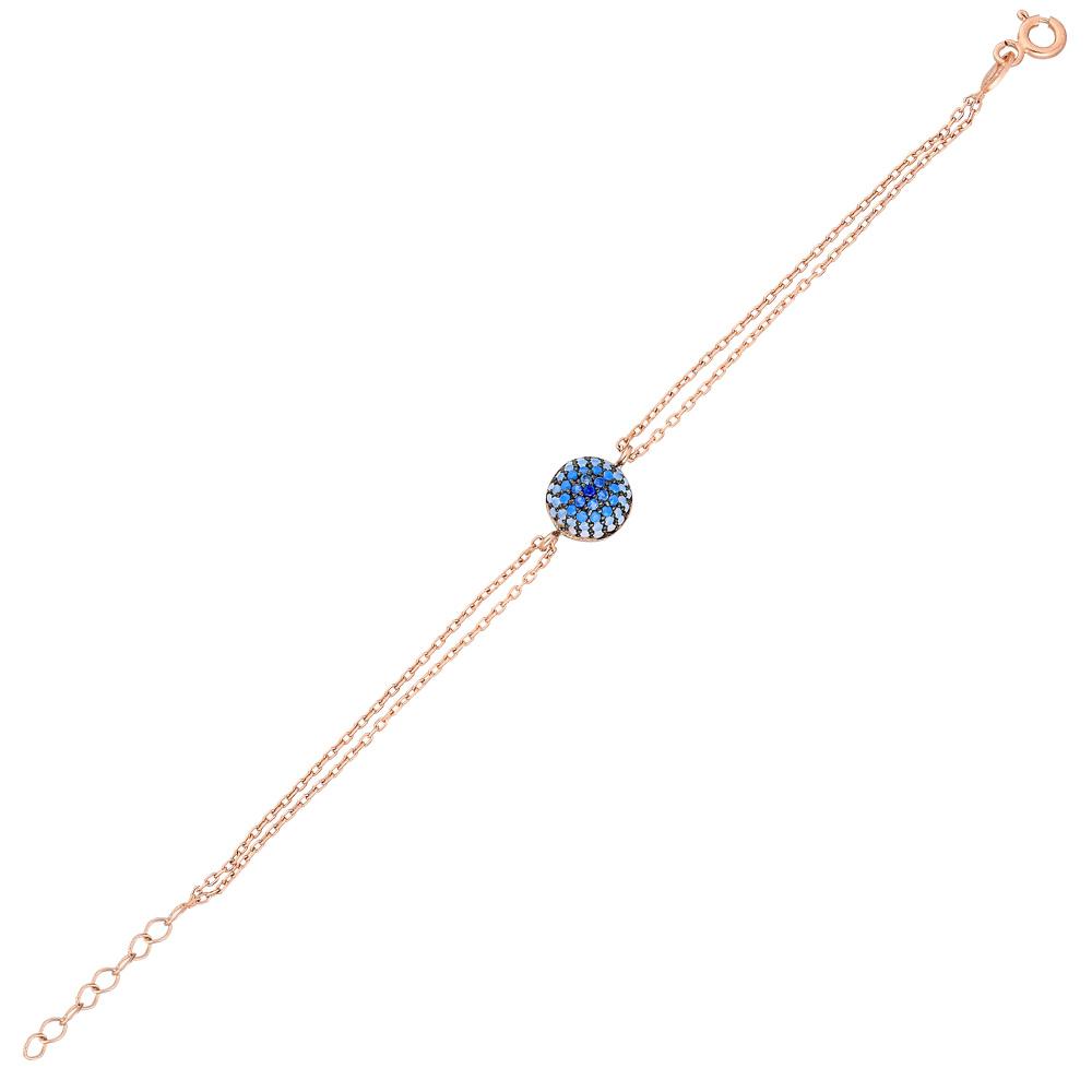 Mavi-Beyaz Zirkon Taşlı Yuvarlak Tasarım 925 Ayar Gümüş Bayan Bileklik