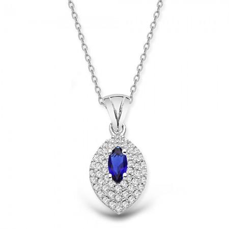 Tesbihane - 925 Ayar Gümüş Mavi ve Beyaz Zirkon Taşlı Kolye