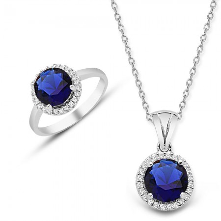 Tesbihane - 925 Ayar Gümüş Mavi ve Beyaz Zirkon Taşlı Kolye ve Yüzük Seti