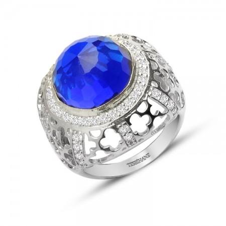 - 925 Ayar Gümüş Mavi ve Beyaz Zirkon Taşlı Rose Yüzük