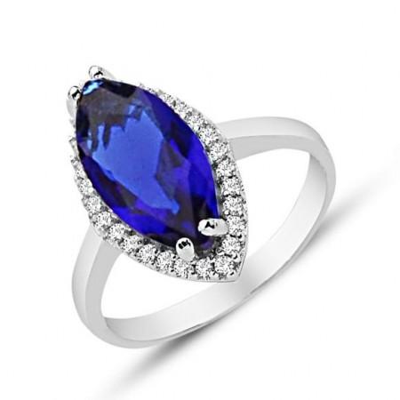 - 925 Ayar Gümüş Mavi ve Beyaz Zirkon Taşlı Yüzük