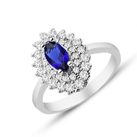 Tesbihane - 925 Ayar Gümüş Mavi ve Beyaz Zirkon Taşlı Yüzük