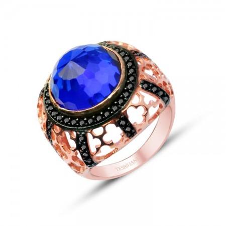 - 925 Ayar Gümüş Mavi ve Siyah Zirkon Taşlı Rose Yüzük