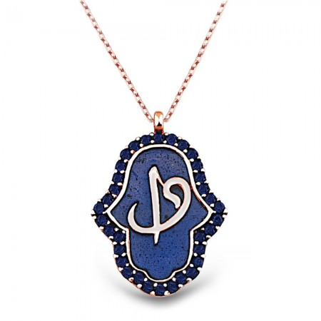 Tesbihane - 925 Ayar Gümüş Mavi Zirkon Elif-Vav Yazılı Kolye