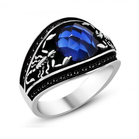 Tesbihane - Akrep Tasarım Mavi Zirkon Taşlı 925 Ayar Gümüş Erkek Yüzük