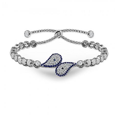 - 925 Ayar Gümüş Mavi Zirkon Taşlı Bileklik