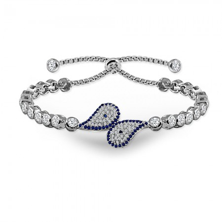 Tesbihane - 925 Ayar Gümüş Mavi Zirkon Taşlı Bileklik