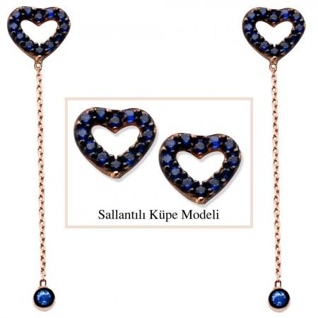 Tesbihane - 925 Ayar Gümüş Mavi Zirkon Taşlı Boş Kalp Model Japon Sallantılı Küpe (SRD00198)