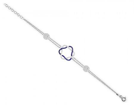 - 925 Ayar Gümüş Mavi Zirkon Taşlı Halkalar Bileklik