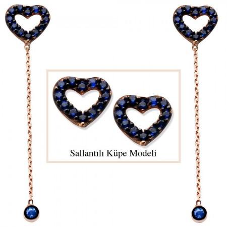 - 925 Ayar Gümüş Mavi Zirkon Taşlı İçi Boş Yıldız Model Japon Sallantılı Küpe