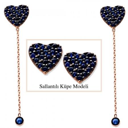 Tesbihane - 925 Ayar Gümüş Mavi Zirkon Taşlı Kalp Model Japon Sallantılı Küpe