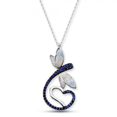 - 925 Ayar Gümüş Mavi Zirkon Taşlı Kalpli Kelebek Model Çiçek Kolye (SRD0082)