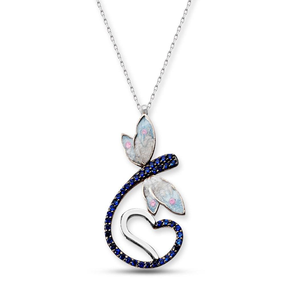 925 Ayar Gümüş Mavi Zirkon Taşlı Kalpli Kelebek Model Çiçek Kolye (SRD0082)