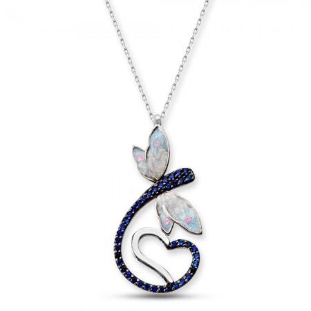 Tesbihane - 925 Ayar Gümüş Mavi Zirkon Taşlı Kalpli Kelebek Model Çiçek Kolye (SRD0082)